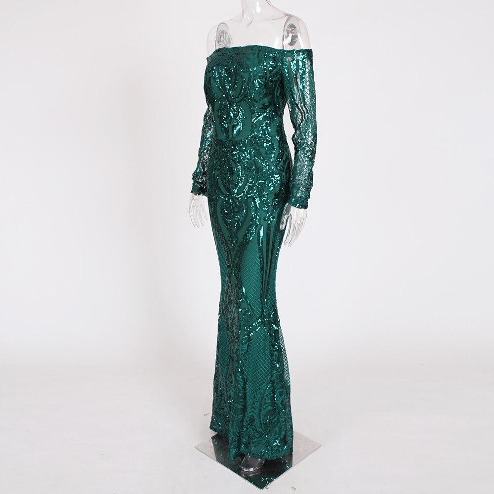 Vert Paillettes robe maxi es Outre De L'épaule Slash Cou robe de fête robe maxi élégante Hiver robe de soirée Paillettes Robe - 3