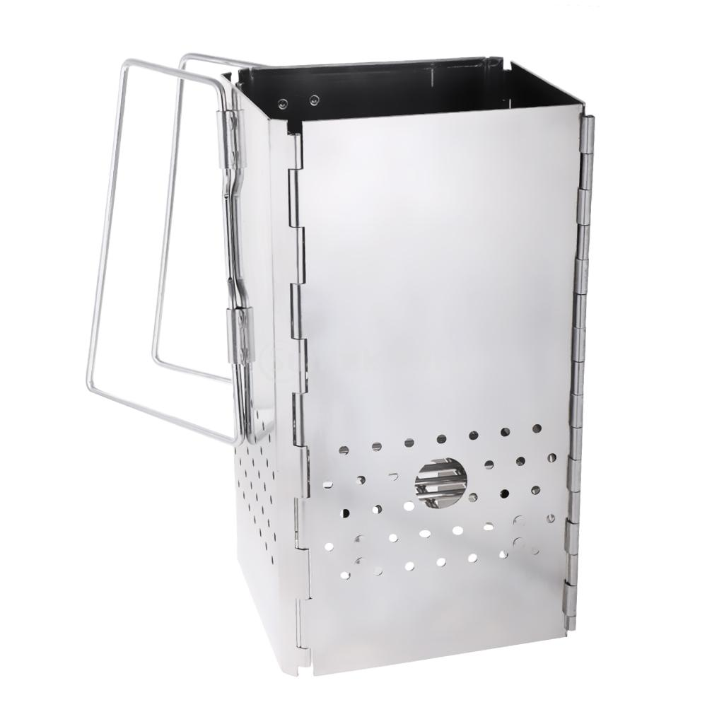 Portable Stainless Steel Outdoor Camping Beach Folding BBQ Barbecue Grill Charcoal Wood Burning Stand Stove Rack Party Cooking