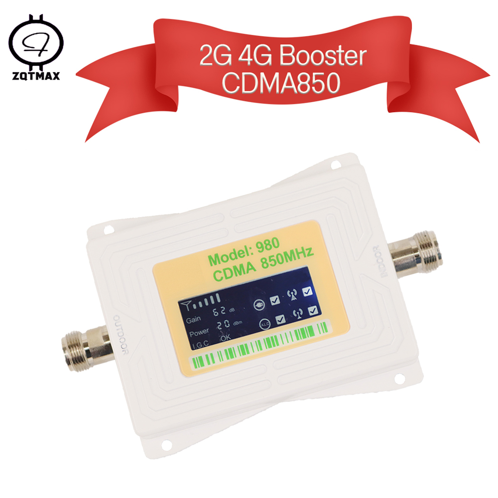 ZQTMAX 60dB 2g 4g Repeater Cdma Cell Phone Signal Booster Lte Cellular Amplifier 850MHz  I.G.C ALC Band 5 LCD Display