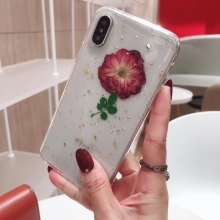 Fashion Gold Foil Glitter Real Flower Cases For iPhone XS Max XR 6 6S 7 8 Plus X Dried Floral Transparent Soft TPU Back Cover