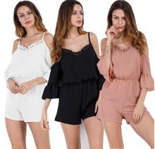 Women Romper print lace Jumpsuit Summer Short pleated Overalls Jumpsuit Female chest wrapped strapless Playsuit NEW