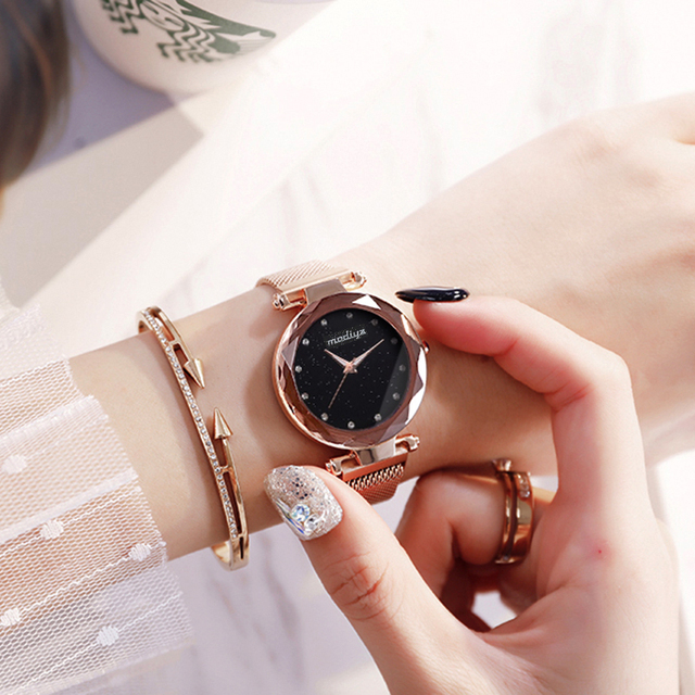 Luxury Diamond Rose Gold Women Watches Fashion Ladies Starry Sky Magnetic Watch Casual Mesh Steel Rhinestone Female Wristwatch 3