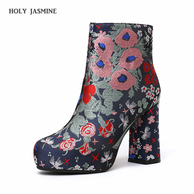 Fashion 2018 Women Boots Winter Warm High Heels Ankle Boots Woman Embroider Flower Women Shoes Round Toe Short Single Shoes Size enmayer shoes woman supper high heels ankle boots for women winter boots plus size 35 46 zippers motorcycle boots round toe