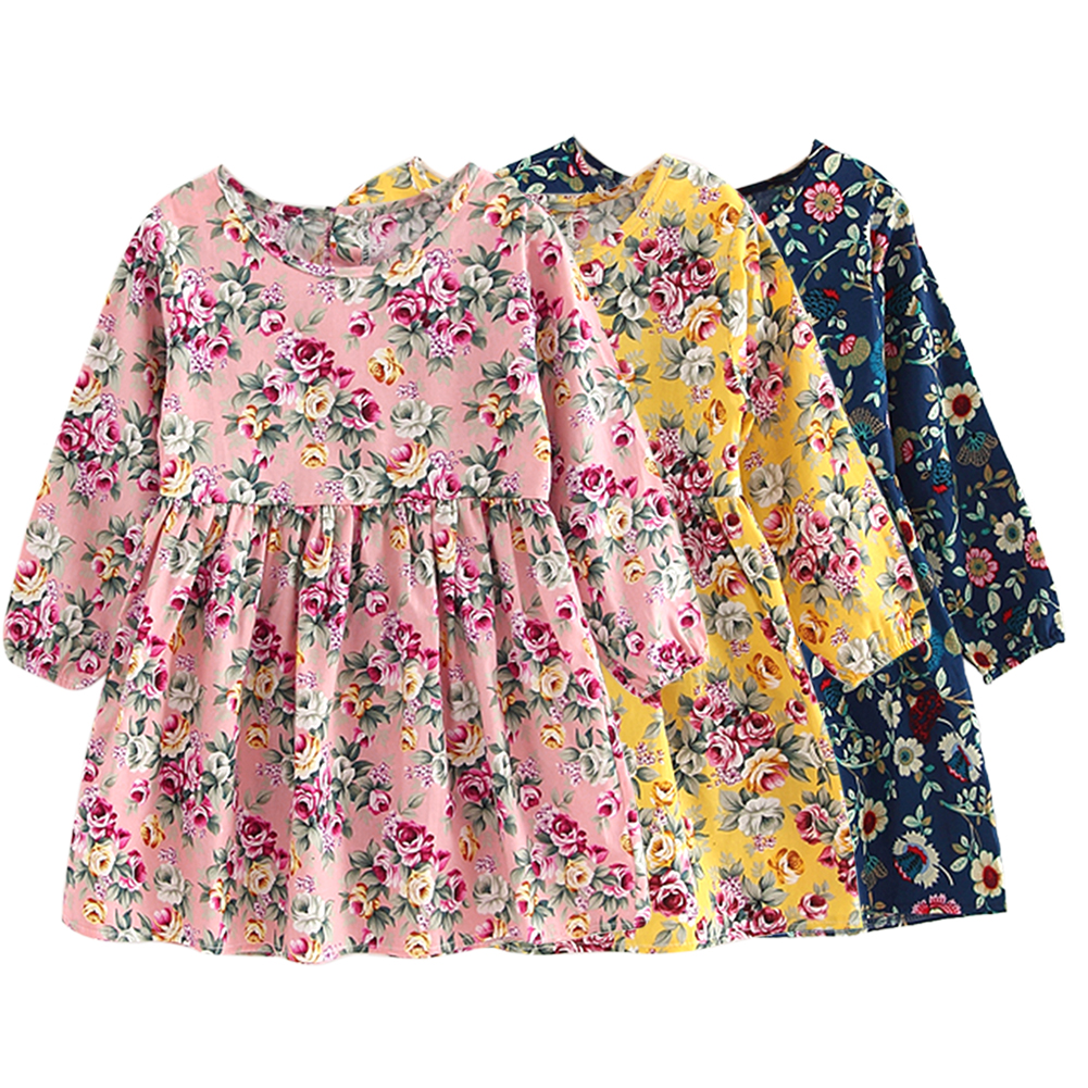 Cute Floral Printed Kids Children Girls Dresses Spring Summer Long Sleeve Floral Princess Dress Casual Costume Kids Clothes striped patchwork character girl dresses long sleeve cute mous kids clothing girls dress denim spring summer children clothes