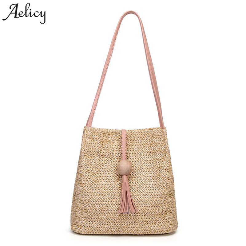 Aelicy Summer Women Durable Weave Straw Beach Bag Feminine Woven Bucket Bag Grass Casual Tote Handbags Knitting Rattan Bags bucket straw bags chain woven women crossbody bags shoulder tote bag summer beach handbags fashion bow beach straw handbags
