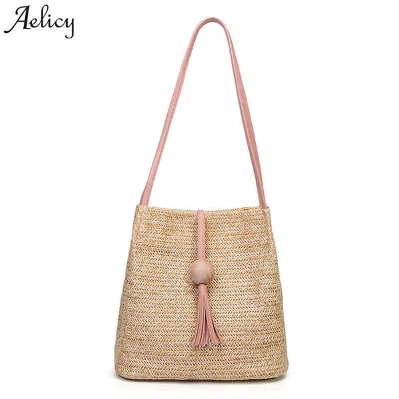 dbe2e2cc017f Aelicy Летняя женская прочная Плетеная соломенная Пляжная Сумка Женская  тканая сумка-мешок трава Повседневная Сумка