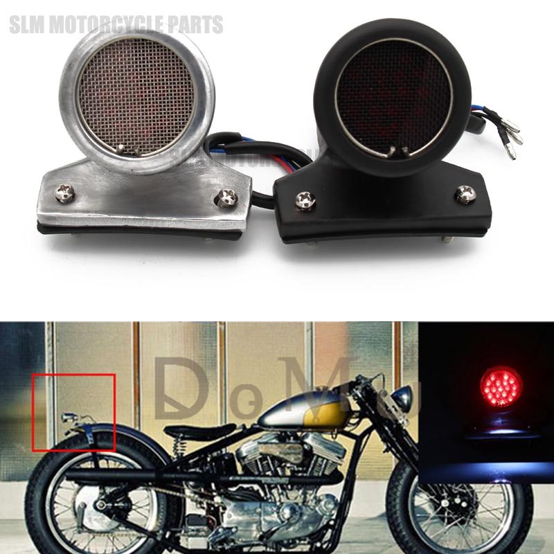 Intelligente 12 V Led Arrière Moto Chrome Noir Frein Feu Arrière Avec Lentille En Maille Pour Harley Bobber Chopper
