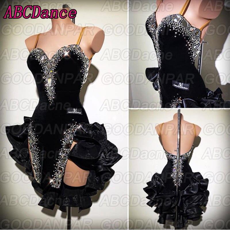 Латинские танцы платье женские пикантные черные слинг Бальные платья латинский костюм для сальсы