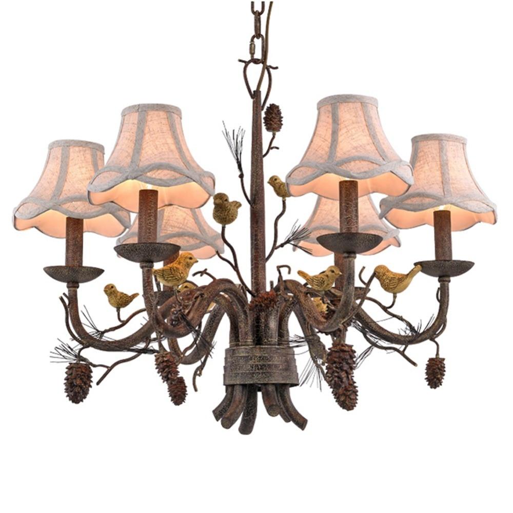Wrought Iron Chandelier Island Country Vintage Style Chandeliers Flush Mount Lighting Fixture Lamp Industrial Metal Chandelier