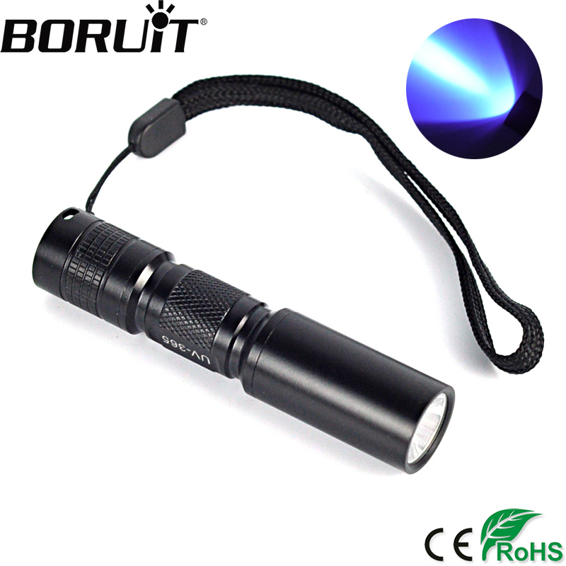 Boruit UV 365nm 3W LED Flashlight Ultra Violet Light Torch Purple Light  AA Battery For Marker Checker Detection