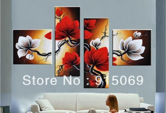 Wholesale black white red flowers abstract wall art canvas oil wholesale black white red flowers abstract wall art canvas oil painting 100 hand painted home mightylinksfo