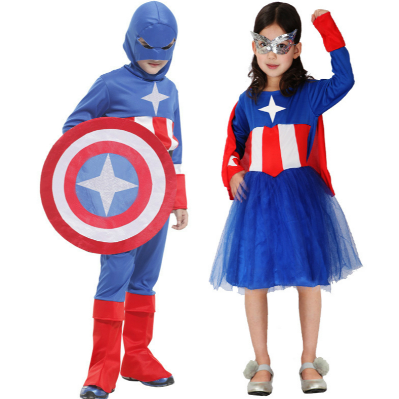 Anime Cosplay for Captain America Baby Boy and Girl Dress Cloth Shield Vestidos Costume for Children in Halloween Carnaval Party