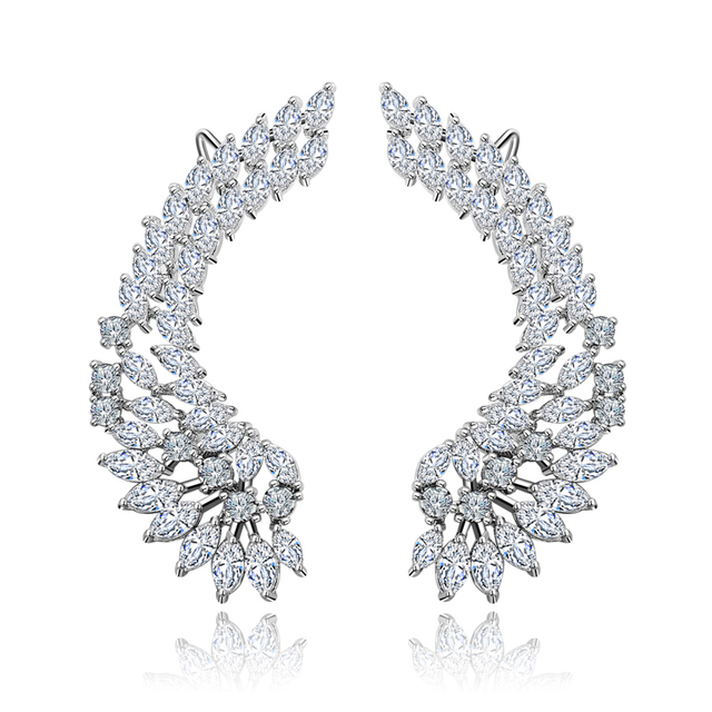 XIUMEIYIZU 925 Luxury Lady's Silver Post Cubic Zircon Crystal Angel Wing Ear Sweep Wrap Cuff Earrings Climber Earrings