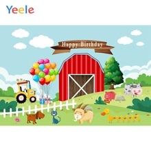 Yeele 풍선 농장 동물 격자 잔디 구름 생일 사진 배경 사진 스튜디오에 대한 사용자 지정 사진 배경