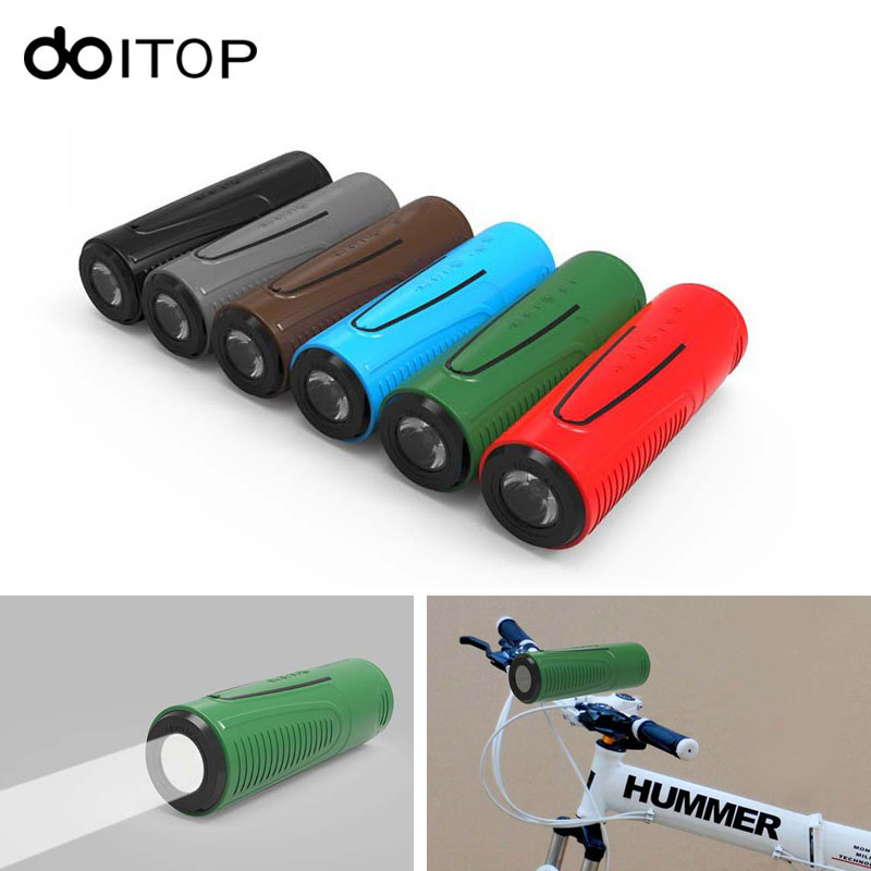 DOITOP Bluetooth Speaker P3 Outdoor Bicycle Portable Subwoofer Bass Wireless Speakers Power Bank With LED Flashlight Bike <font><b>Mount</b></font>