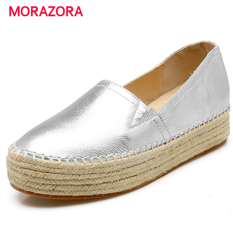MORAZORA Genuine leather women flats platform shoes woman round toe fashion casual flat shoes gold silver qmn women snake effect leather brogue shoes women round toe platform oxfords shoes woman genuine leather casual platform flats