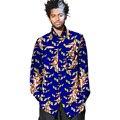 Camisa de los hombres de moda africano ahueca hacia fuera manga larga busto ropa de impresión africano dashiki africano tops de vestir de áfrica
