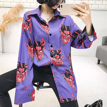 Rosetic Casual Gothic Plus Size Women Blouses Loose Lapel Cartoon Print Girls Purple Tops And Blouse  Female Pink Shirts