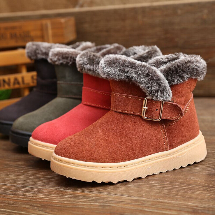Retail 2017 New Children Wear <font><b>Warm</b></font> Boots Boys and Girls Winter Boots Leather Waterproof Foot <font><b>Gloves</b></font> Cold Size 25-36