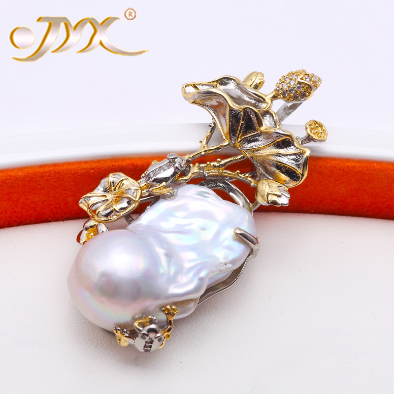 JYX Unique Jewelry 100% Natural 18-31mm White Baroque Freshwater Pearl Brooch, Pendant Dual-use Type faux pearl rhinestone unique brooch