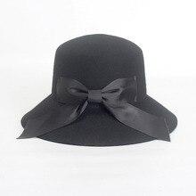 PADEGAO nuevo otoño y el invierno de lana sombrero decoración del bowknot  con grandes aleros sombrero de pescador color puro ele. d281c204a0e