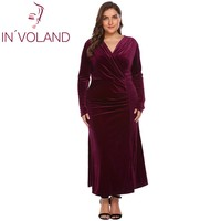 IN VOLAND Plus Size XL 4XL Women Party Maxi Dress Autumn Spring Long Sleeve Draped Split