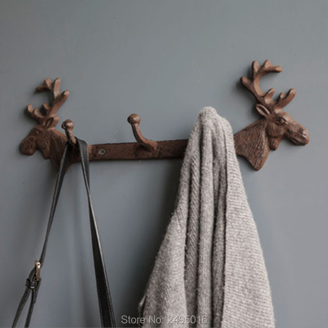 Metal Wall Mount Moose 3 Hooks Key Ring Holder Coat Rack Hat Hook