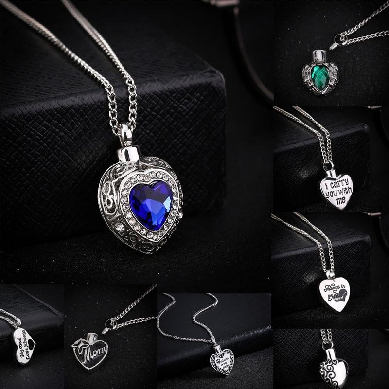 13 Style Charms Heart Cremation Pendant Choker Necklaces Ash Holder Mini Keepsake Long Memorial Necklace Women Men Jewelry