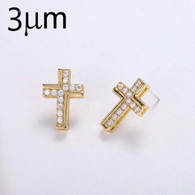 3UMFree Shipping Earring Cross Stud Earrings Charms Acier Inoxydable Acrilic Jewelry