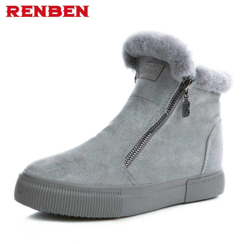 Brand Women Boots Female Winter Shoes Woman Warm Snow Boots Fashion Suede Fur Ankle Boots Black Gray Size 35-40 suede ankle snow boots