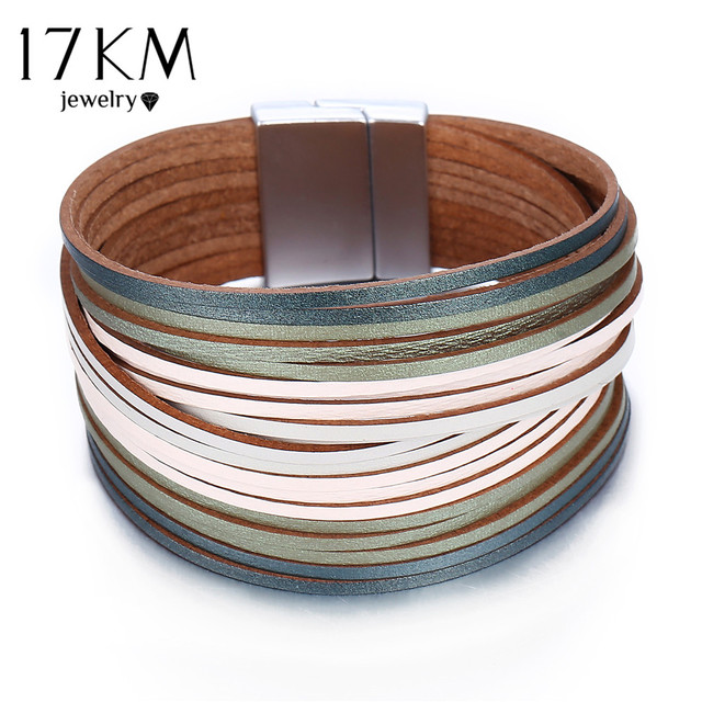 Us 2 46 35 Off 17km 3 Color Fashion Leather Wrap Bracelet For Women Men Multiple Layers Charm Bracelets S Pulsera Mujer Basics Jewelry In