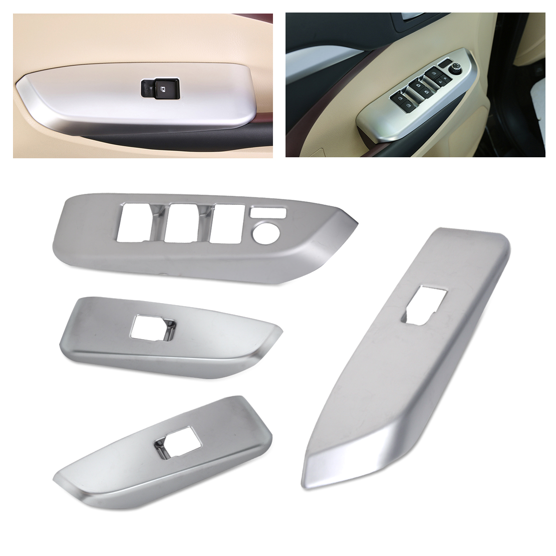 CITALL 4pcs Car Interior ABS Chrome Door Window Switch Console Panel Cover Trim fit for Toyota Highlander 2014 2015 2016 2017 2016 mini clubman one coopers side door power window switch center console panel covers accessories car stickers for f54 6 door page 6