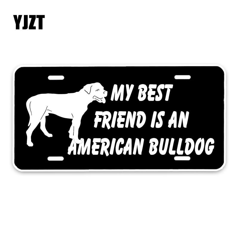 YJZT 15*7.3CM My best friend is a American Bulldog Dog Creative Fashion PVC Material Car Sticker C1-4647