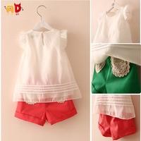 AD 5sets/lot Elegant Girls Sets Summer Style Clothing sets Kids Top + Shorts Girls Children Clothing Baby Girl Clothes meninas