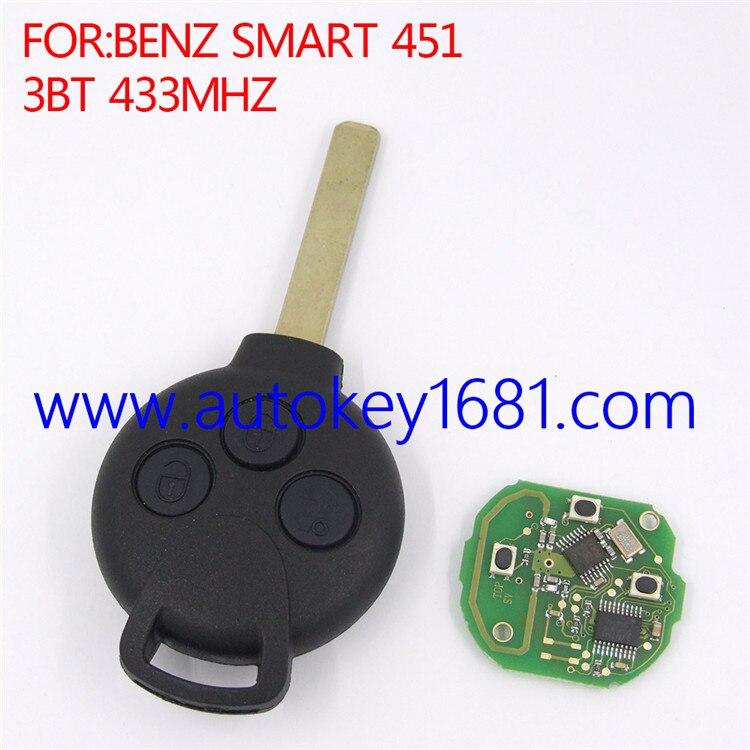 Remote control smart card car key for Mercedes Benz Smart 451 3button 433MHz ID46 transponder chip