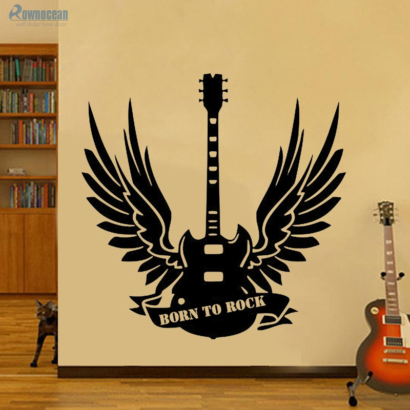 Restdeals.com:Born To Rock Wings Guitar Wall Sticker Washable Papel ...