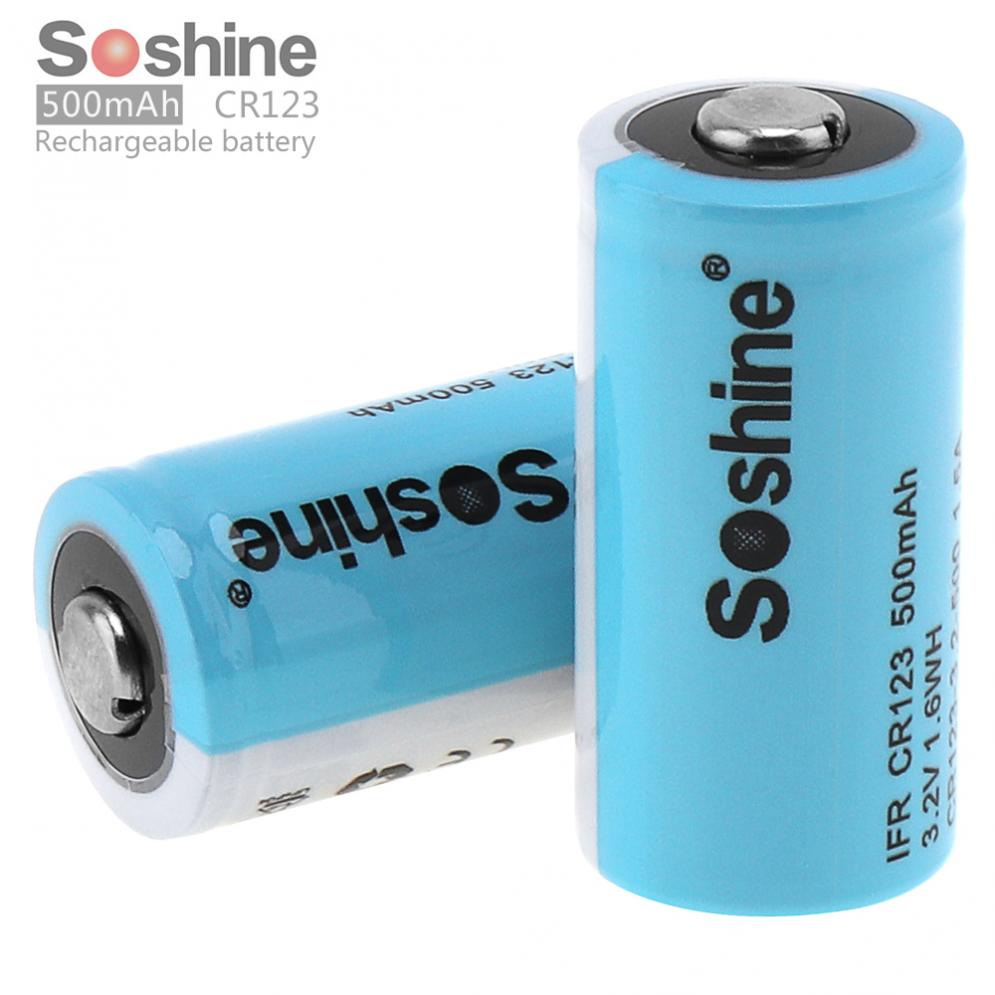 Cool 2pcs Soshine Ifr Cr123 Cr123a 3 2v 500mah Lifepo4 Rechargable Battery Cr123 Vs Cr123a Rechargeable 123a Vs Cr123a Low Self Discharge dpreview Cr123 Vs Cr123a