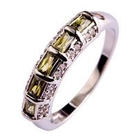 2015 Elegant Women Jewelry Olive Green Peridot Fashion 925 Silver Ring Size 7 8 9 10 11 12 Wholesale Free Shipping New Style