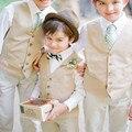 Nova 2016 De Casamento Meninos Da Praia do Verão Com Roupas (Camisa branca + Calça + Colete) muito bem Crianças Smoking Ternos Roupas Formais Baratos