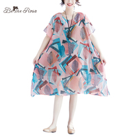 BelineRosa Summer Style Chiffon Dresses Elegant Ladies Sweet Pink and Blue Hit Color Women Dress XL ~ 5XL XMR00079
