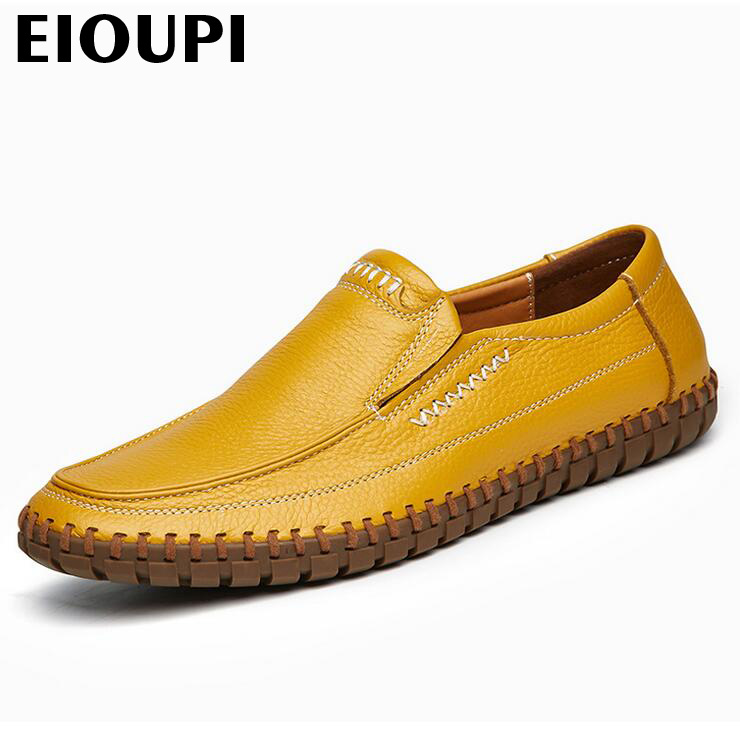 EIOUPI top quality new design genuine real leather mens fashion business casual shoe breathable men shoes