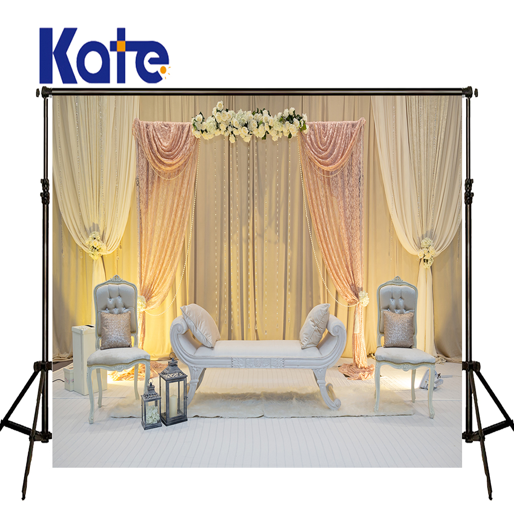 KATE Photography Backdrops Flower Wedding Backdrops White Curtain Sofa Background Chair and Wood Floor Background for Studio