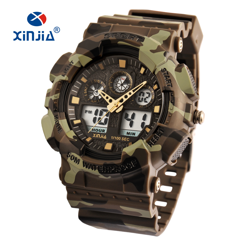 XINJIA Brand Style Japan Movement Military Shock Resistant Digital Watches Army Camouflage Sports LCD Men Outdoor Waterproof