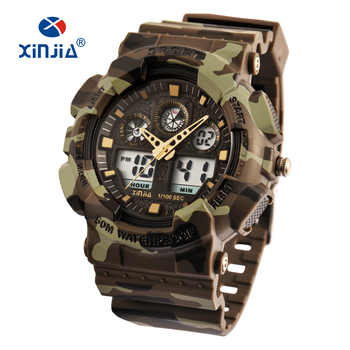 цена на XINJIA Brand Style Japan Movement Military Shock Resistant Digital Watches Army Camouflage Sports LCD Men Outdoor Waterproof
