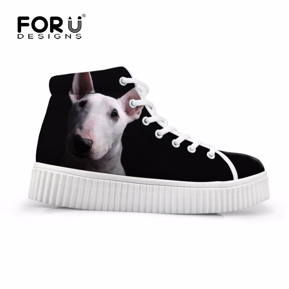 FORUDESIGNS Cute Bull Terrier Printed Women High Top Flats Platform Shoes Fashion Height Increasing Shoes for Female Creepers forudesigns fashion women height increasing flats shoes 3d pretty flower rose printed casual high top shoes for female platform