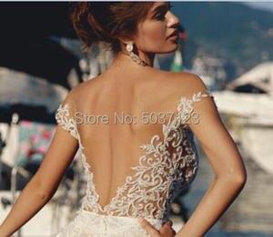 Image 2 - Meerjungfrau Hochzeit Kleider 2019 Weg Von der Schulter Spitze Appliques Ärmel Open Back Boho Hochzeit Brautkleid Vestido De Noiva
