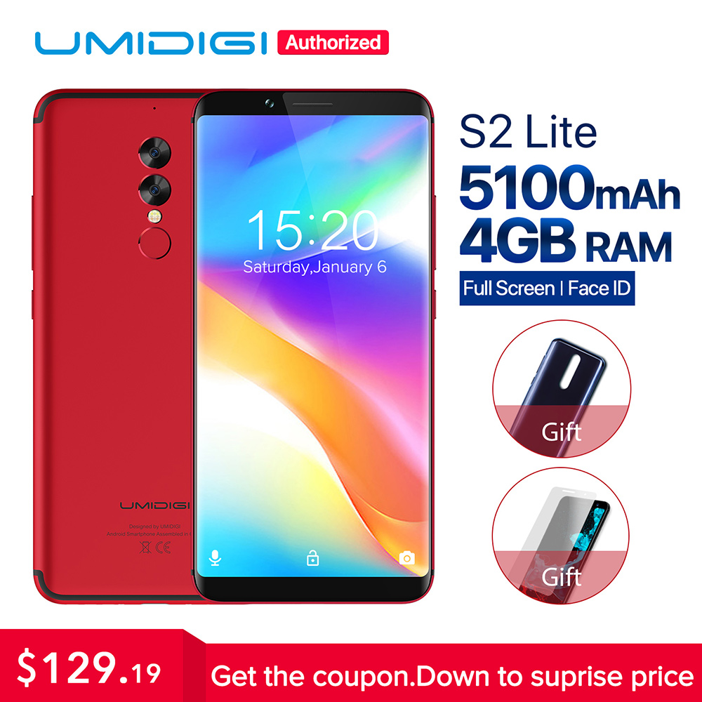 UMIDIGI S2 Lite 18:9 pantalla Android 7,0 smartphone Face ID 5100 mAh 4 GB 32 GB 16MP doble cámara 4G LTE touch ID teléfono móvil