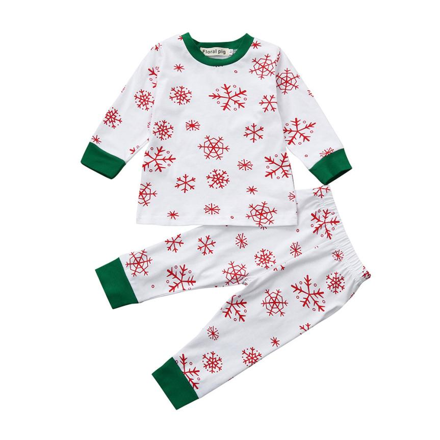 Christmas Kids Baby Girls Boys Snow Print Tops+Pants 2Pcs Set Outfits Clothes Drop Shipping Y1108