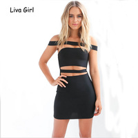 Chic Evening Party Bandage Dress Women Cut Out Black Sexy Bodycon Dress New Year Off Shoulder