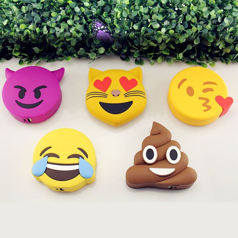 Sibaina 2000mah Poops Emoji Power bank Battery Portable Cute Cartoon Phone Battery Charger For LG huawei ZTE Mobile Phone